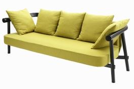 """Canapé """"PA2"""" de Patricia Urquiola en hêtre massif et revêtement en coton, L 190 x P 76 x H 36cm. COEDITION, http://www.coedition.fr/"""