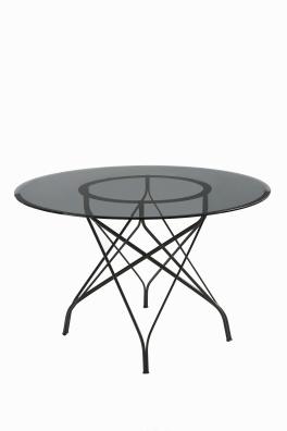 """Table """"JO2"""" de Patrick Jouin avec piètement en métal chromé, plateau en verre, Ø 120 x H 73cm, COEDITION, http://www.coedition.fr/"""