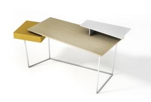 """Bureau """"Layers"""" de Gino Carollo,,structure métallique et éléments en bois, Calligaris"""