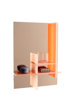 """Miroir """"Cabinet Sopa"""" avec étagères en acrylique. Existe en orange, bleu et vert, 45cm x 62 x 10 cm, Chateau de la Resle"""