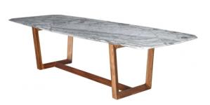 "Table ""Bolero"" de Roberto Lazzeroni avec plateau en marbreet pieds en noyer, L 300 x P 140cm, prix sur demande, Poltrona Fray"