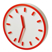 "Horloge de Naoto Fukasawa, en ABS de 30cm de diamètre. 80 € ""Tempo"", Magis"