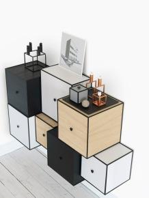 """Cube en bois à empiler comme bon vous semble. Existe en différentes finitions et tailles. A partir de 184€ """"Frame """" By Lassen"""