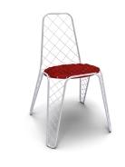 """Chaise """"Gustave"""" de Toni Grilo, en fil de fer, assise en mousse et tissu, disponible en blanc et noir, prix sur demande, Haymann ©Haymann"""