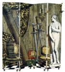 Piero Fornasetti, Paravent « Angolo Antico con Eva », 1952, lithographie sur bois, peint à la main. 200 x 200 cm. Fornasetti En savoir plus sur