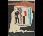 Le Modulor 1950 Encre de Chine et collage de papiers gouachés et découpés 70 x 54 cm