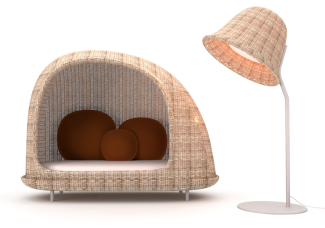 Canapé et lampadaire d'extérieur, Habitat