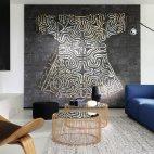 """Papier peint """"Kimono (RM 257 01)"""", panoramique au pays du Soleil Levant et kimono impérial aux motifs Asanoha, Elitis"""